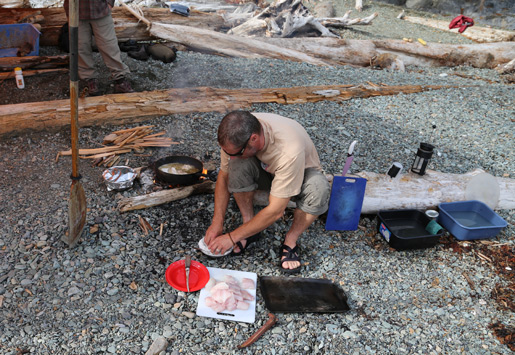 Steve preparing the freshly caught fish for dinner!