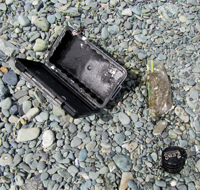 Image of broken Pelican case washed up on the beach at Hewlett Bay.