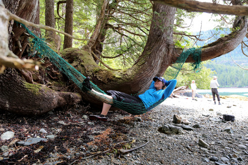 Lounging in a drifnet hammock.