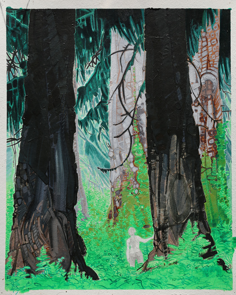 "Painting on paper titled: ""A Girl In The Woods"""