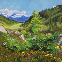 "Link to full size image of ""View Of Black Tusk From Brandywine Meadows -Two"""